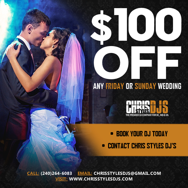 $100 off Friday or Sunday Wedding coupon