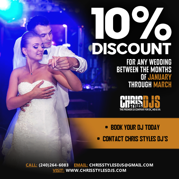 coupon for 10% discount for January thru March weddings